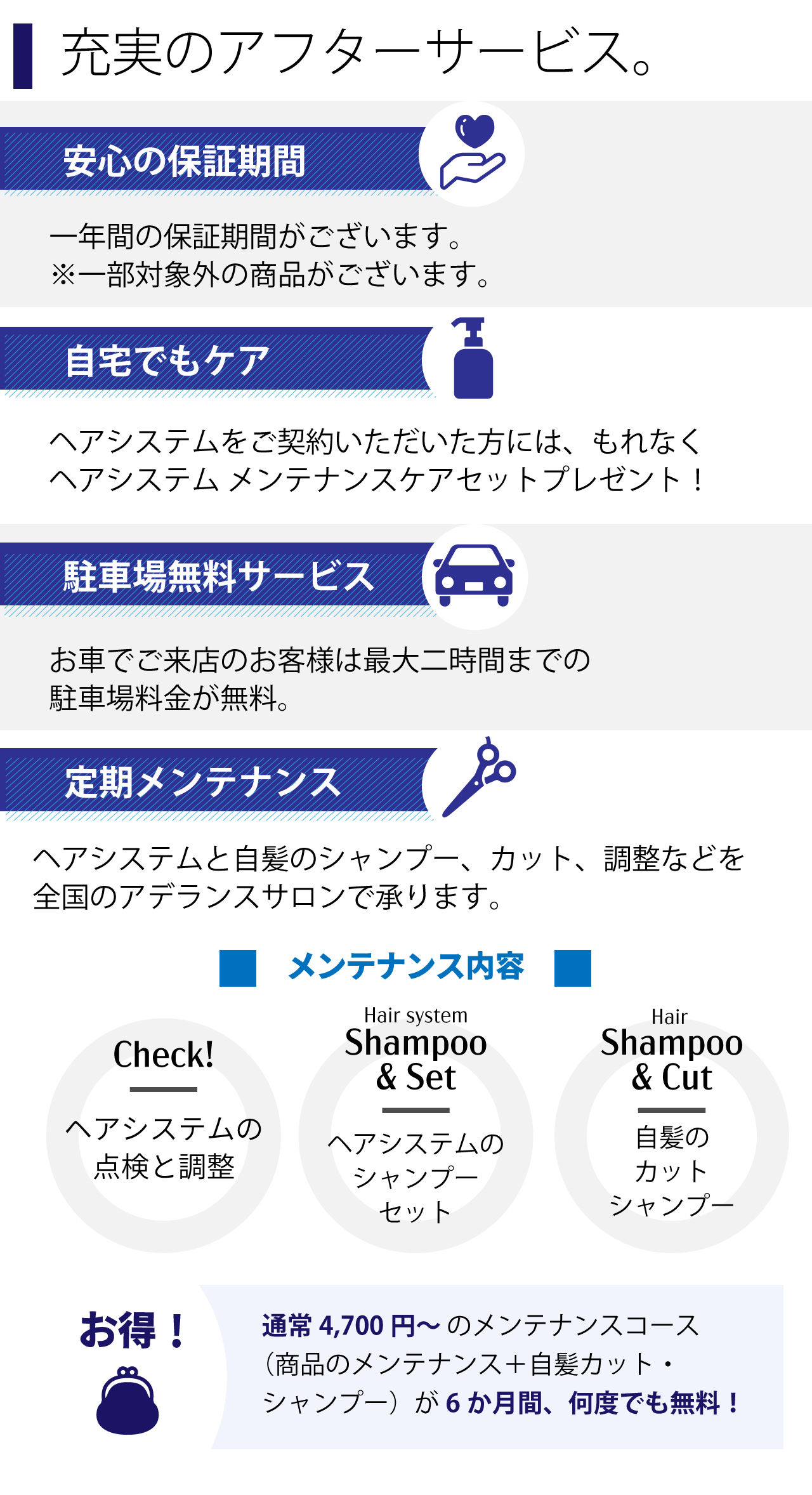充実のアフターサービス 安心の保証期間 自宅でのケア 駐車場無料サービス 定期メンテナンス